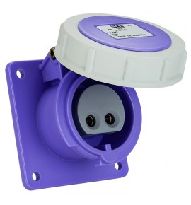 Industrial Extra Low Voltage Flanged Sockets - CEE Type - Insulated